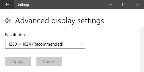 Screen Resolution in Windows Display Settings