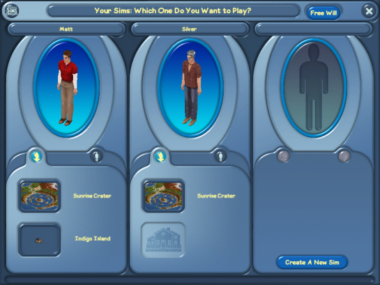 Select a Sim Screen